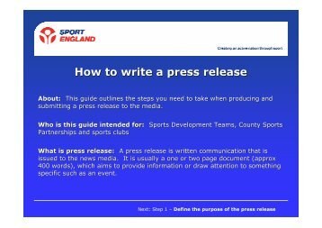 Sport England Guide - How to Write a Press Release - VicSport