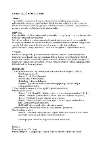 Kardiyoloji Ana Bilim Dalı - Hacettepe Üniversitesi Tıp Fakültesi