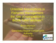 the role of competition in Brook Trout declines? - Toronto and ...