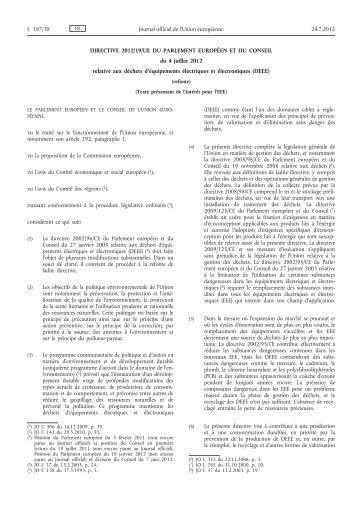 Directive 2012/19/UE du Parlement européen et du ... - EUR-Lex