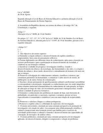 Lei n.º 49/2005 de 30 de Agosto Segunda alteração à Lei ... - DGES