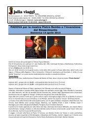 PADOVA per la mostra Pietro Bembo e l'invenzione del Rinascimento