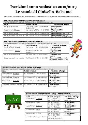 elenco incontri 2012-13 - Comune di Cinisello Balsamo