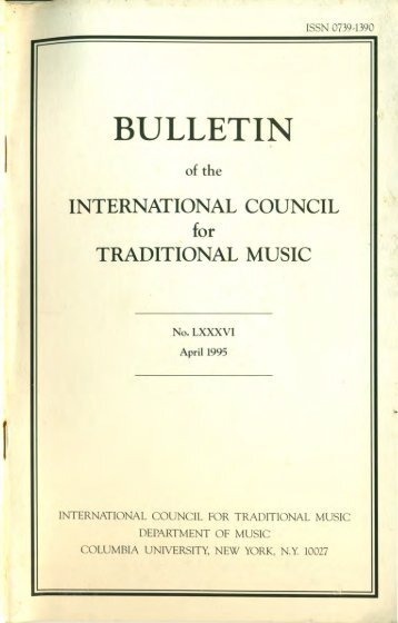 Apr 1995 - International Council for Traditional Music