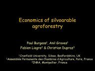 Economics of silvoarable agroforestry - INRA Montpellier