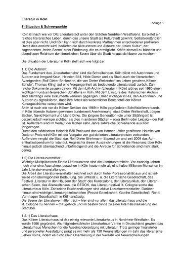 Zur Literatur in Köln - DEINE FREUNDE