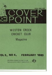cove point - Weston Creek Cricket Club