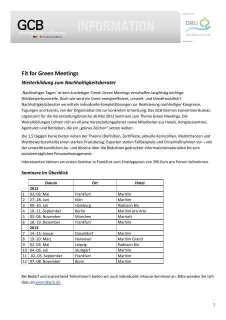 Fit for Green Meetings - GCB