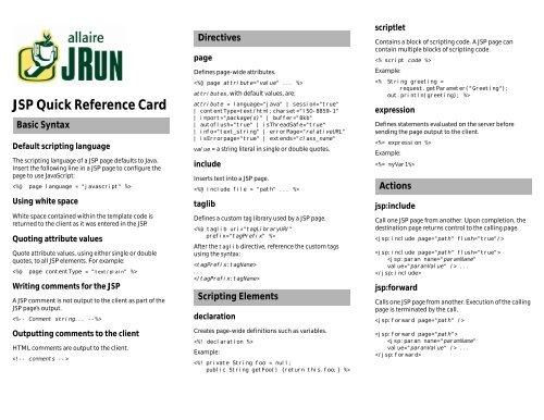 JSP Quick Reference Card [ pdf] - digilife   be