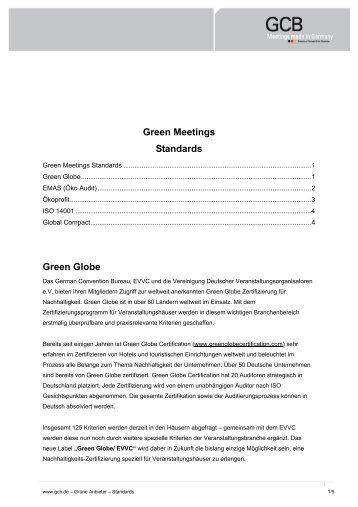 Green Meetings Standards Green Globe - GCB