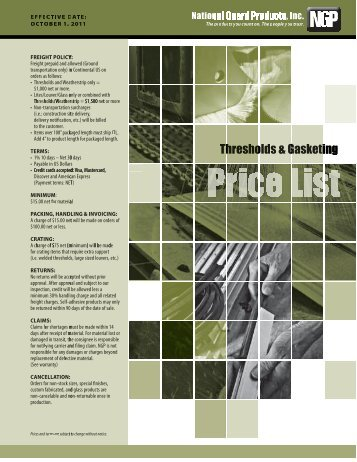NGP OCT 2011 Thresholds_Gasket Price Book - Access Hardware ...