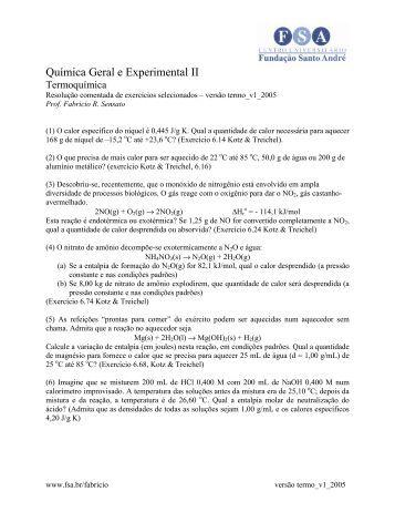 Quimica Geral e Experimental II - Termoquímica