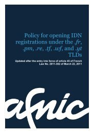 updated policy for opening the IDN registrations - Afnic