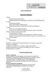 Lehrerfortbildung Phasen der Mediation 1.Phase: Regeln (Regeln ...