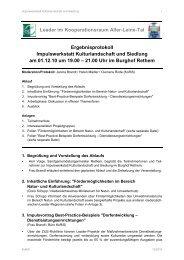 Impulswerkstatt Kulturlandschaft und Siedlung am 01.12.2010