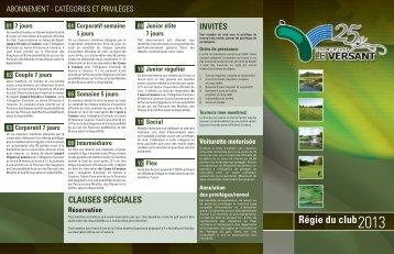 Régie du club - 2013 (PDF) - Le Versant