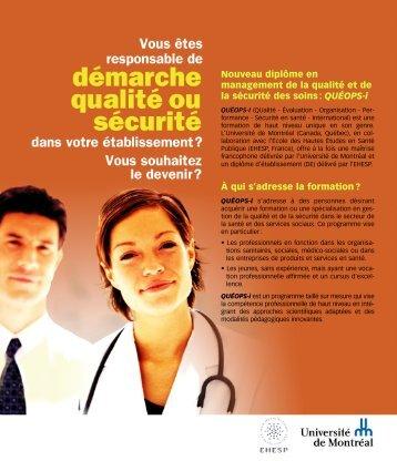 QUÉOPS-i À qui s'adresse la formation? - Université de Montréal