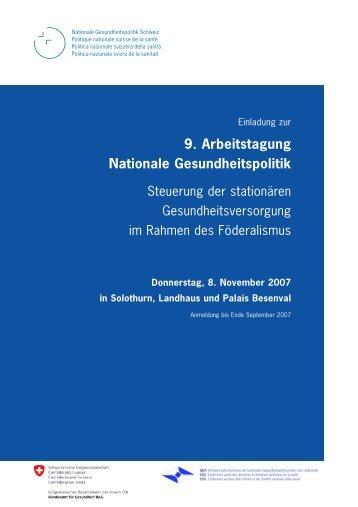 Programm - Dialog Nationale Gesundheitspolitik