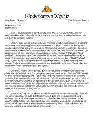 Kindergarten Weekly - Farrand Elementary School