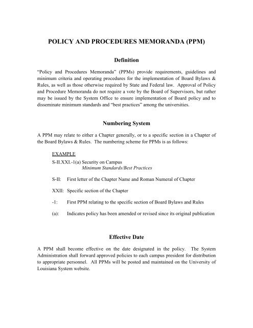 policies and procedures memorandum - University of Louisiana