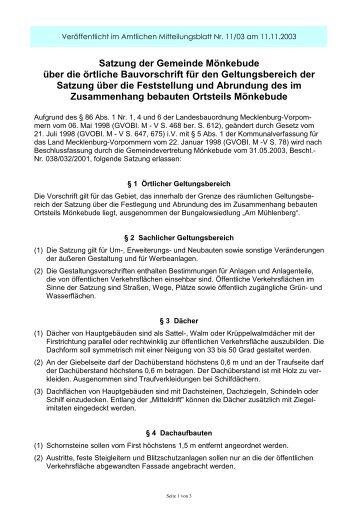Satzung der Gemeinde Mönkebude über die ... - Amt am Stettiner Haff