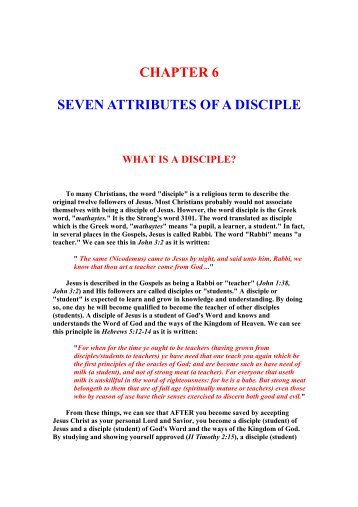 CHAPTER 6 - Seven Attributes Of A Disciple - Unleavened Bread