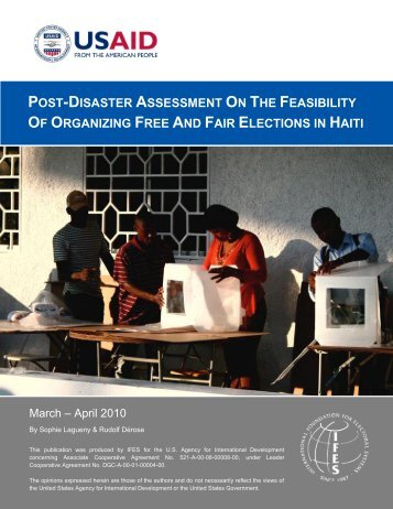 Post-Disaster Assessment on the Feasibility of Organizing Free - IFES