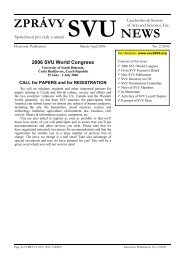 ZPRÁVY SVU NEWS - Czechoslovak Society of Arts & Sciences (SVU)