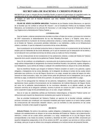 SECRETARIA DE HACIENDA Y CREDITO PUBLICO - Revista