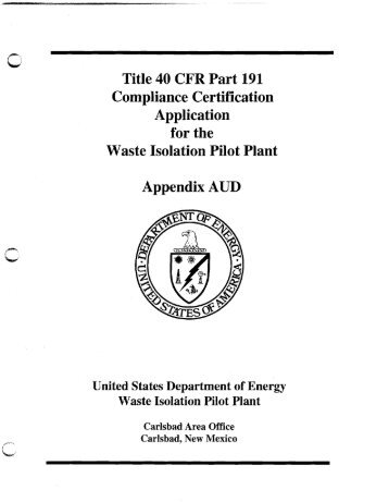 Appendix AUD - Waste Isolation Pilot Plant