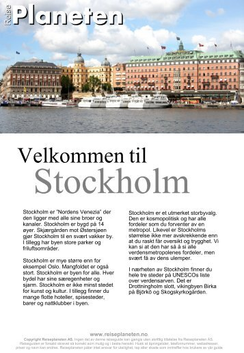 Hent komplett Stockholm reiseguide fra Reiseplaneten her!