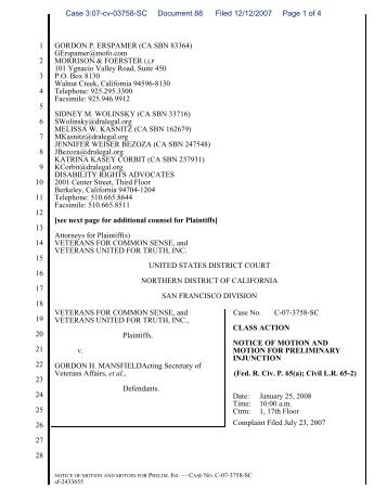 Notice and Motion for Preliminary Injunction - Veterans For Common ...
