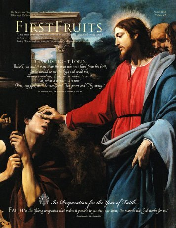 Previous FirstFruits Newsletter, August 2012 - Norbertine Canonesses