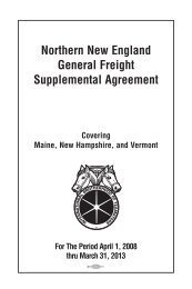 Northern New England General Freight Supplemental Agreement