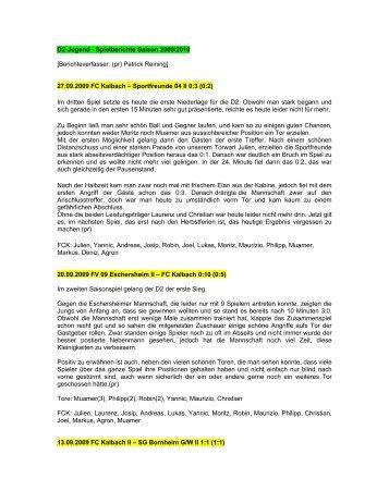 Spielberichte D2 - FC Kalbach