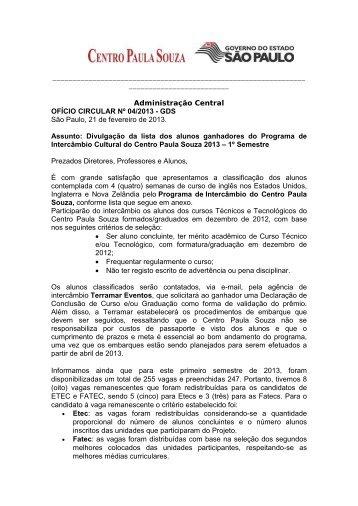 Programa de Intercâmbio Cultural do Centro Paula Souza ... - Fatec
