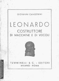 G. Canestrini, Leonardo costruttore di macchine e di veicoli