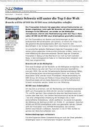 Finanzplatz Schweiz will unter die Top 3 der Welt - Swiss Finance ...
