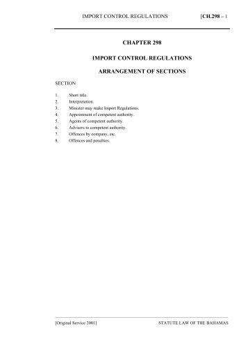 Import Control Regulations Act - The Bahamas Laws On-Line