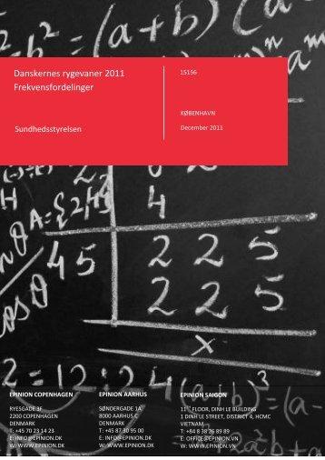 Danskernes rygevaner 2011 Frekvensfordelinger - Sundhedsstyrelsen