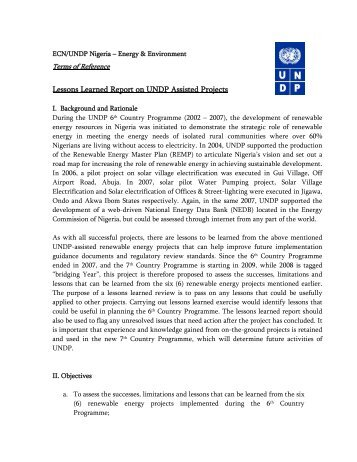 Lessons Learned Report on UNDP Assisted Projects - UNDP Nigeria