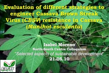 resistance in Cassava - ETH - North-South Centre North-South Centre
