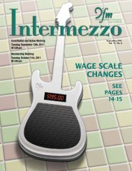 WAGE SCALE CHANGES - Chicago Federation of Musicians
