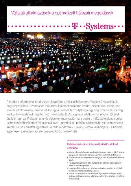 Vállalati alkalmazásokra optimalizált hálózati megoldások - T-Systems