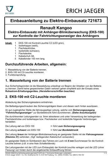 Einbauanleitung zu Elektro-Einbausatz 721673 Renault Kangoo