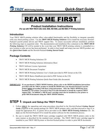MICR Solutions Quick-Start Guide - Troy Group, Inc.
