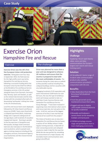 Exercise Orion Case Study - Leading provider of wireless products ...