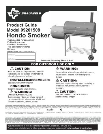 Product guide model 11201699 hondo classic offset smoker.
