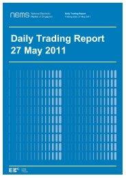 Daily Trading Report 27 May 2011 - EMC - Energy Market Company