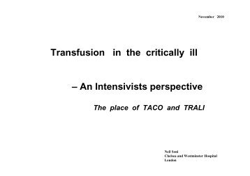 TACO & TRALI in critically ill patients and the differential diagnosis